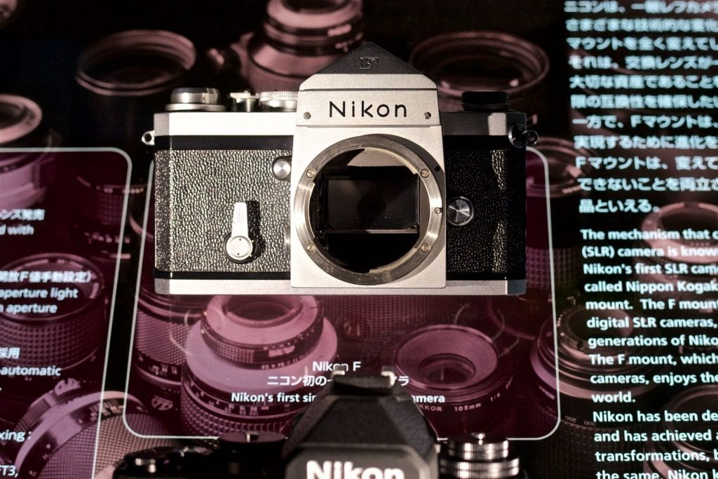 The Nikon F camera is given its place of prominence at the museum.